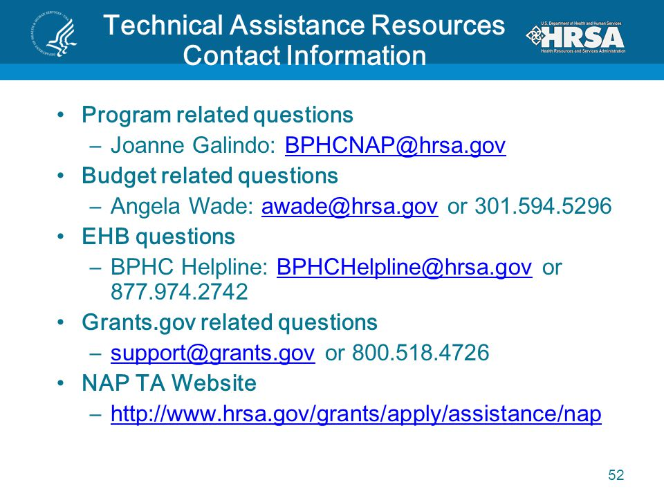 Technical Assistance Resources Contact Information Program related questions –Joanne Galindo: BPHCNAP@hrsa.govBPHCNAP@hrsa.gov Budget related question