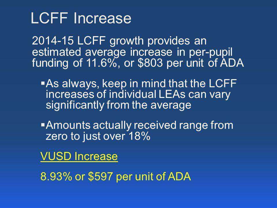 LCFF Increase 2014-15 LCFF growth provides an estimated average increase in per-pupil funding of 11.6%, or $803 per unit of ADA  As always, keep in mind that the LCFF increases of individual LEAs can vary significantly from the average  Amounts actually received range from zero to just over 18% VUSD Increase 8.93% or $597 per unit of ADA