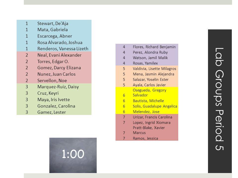 Lab Groups Period 5 1Stewart, De Aja 1Mata, Gabriela 1Escarcega, Abner 1Rosa Alvarado, Joshua 1Renderos, Vanessa Lizeth 2Neal, Evani Alexander 2Torres, Edgar O.