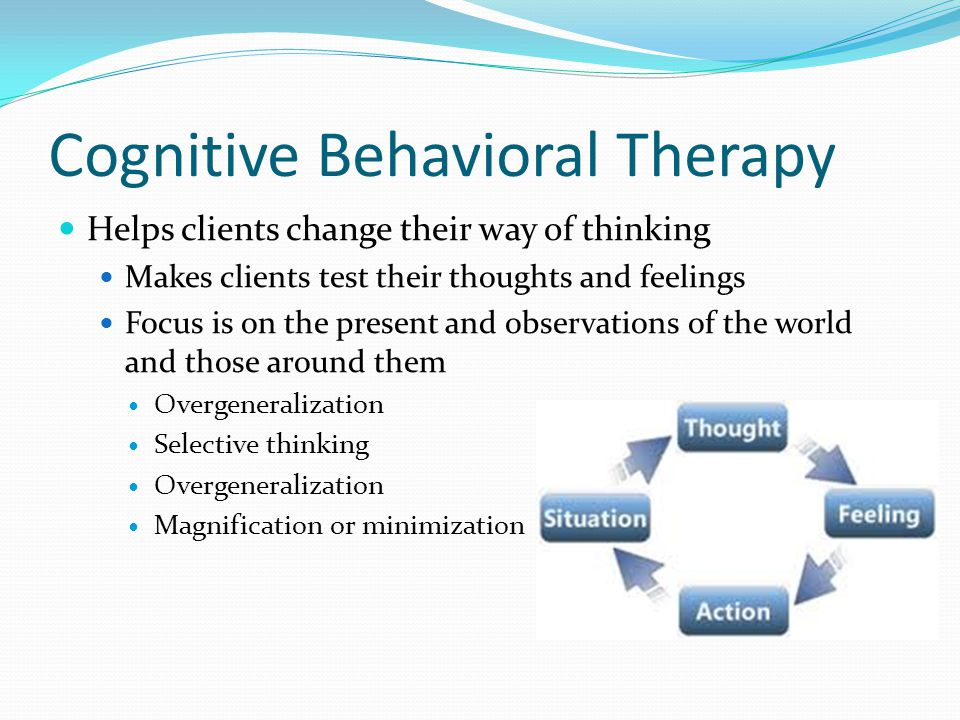 Goals of Cognitive Behavioral Therapy Relieve the symptoms and resolve the problem Develop strategies to cope in the future Change way of thinking