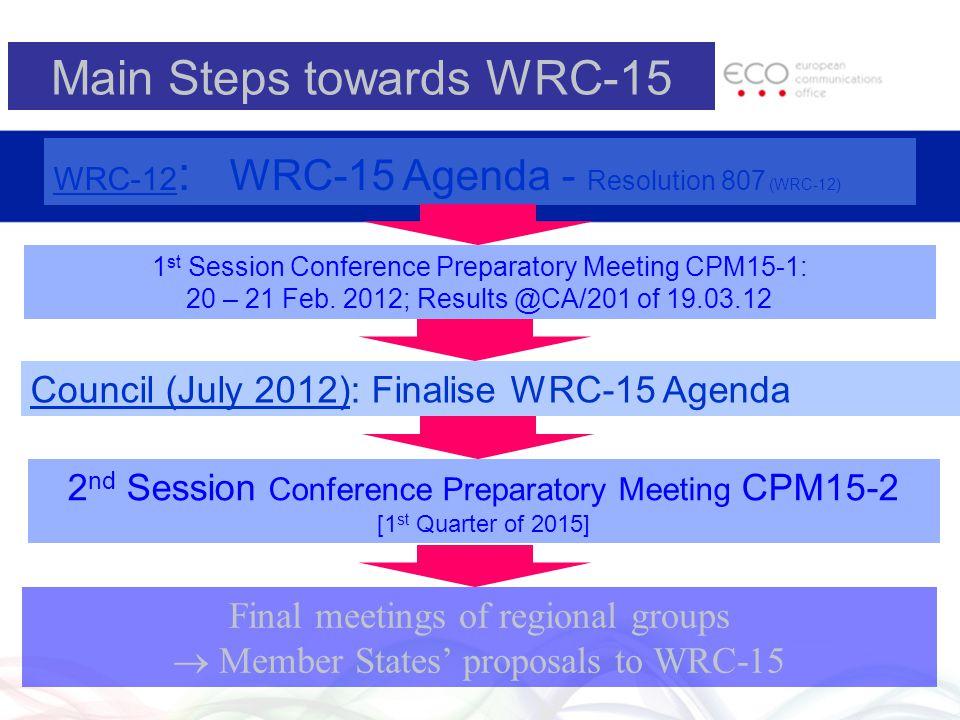 Main Steps towards WRC-15 WRC-12 : WRC-15 Agenda - Resolution 807 (WRC-12) Final meetings of regional groups  Member States' proposals to WRC-15 2 nd
