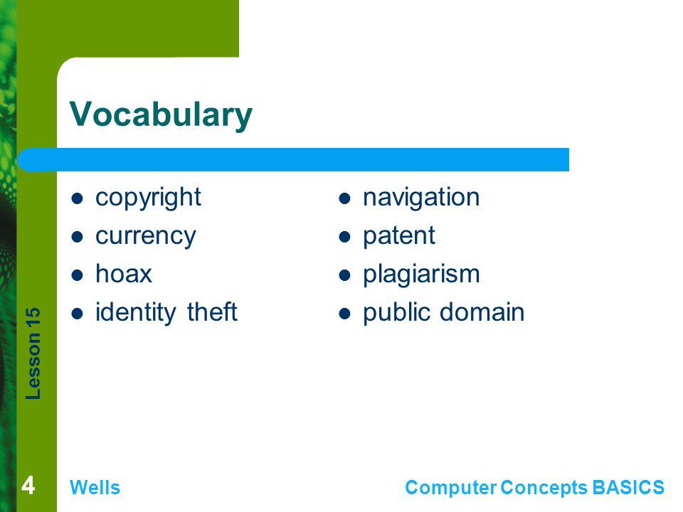 Lesson 15 WellsComputer Concepts BASICS 55 Vocabulary (continued) shareware software license software piracy sponsored site trademark urban legends