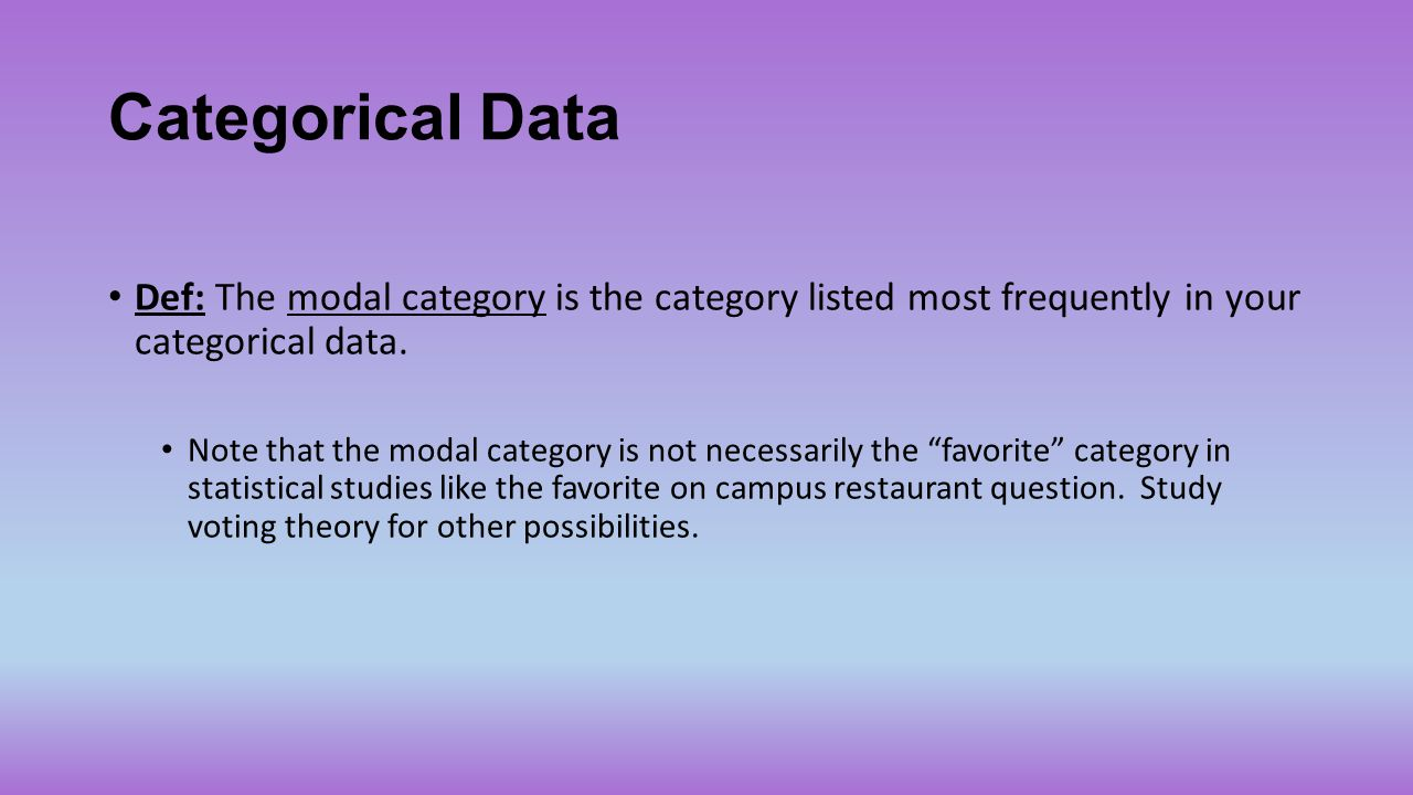Categorical Data Def: The modal category is the category listed most frequently in your categorical data. Note that the modal category is not necessar