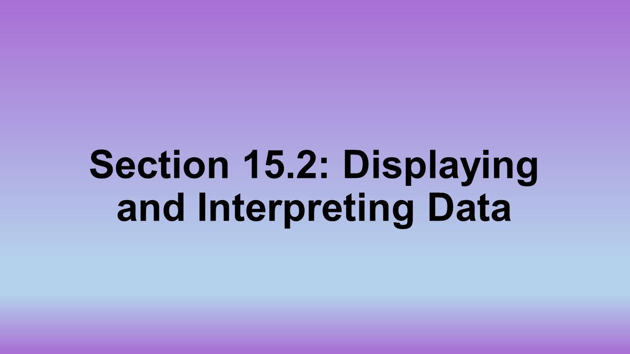 Section 15.2: Displaying and Interpreting Data