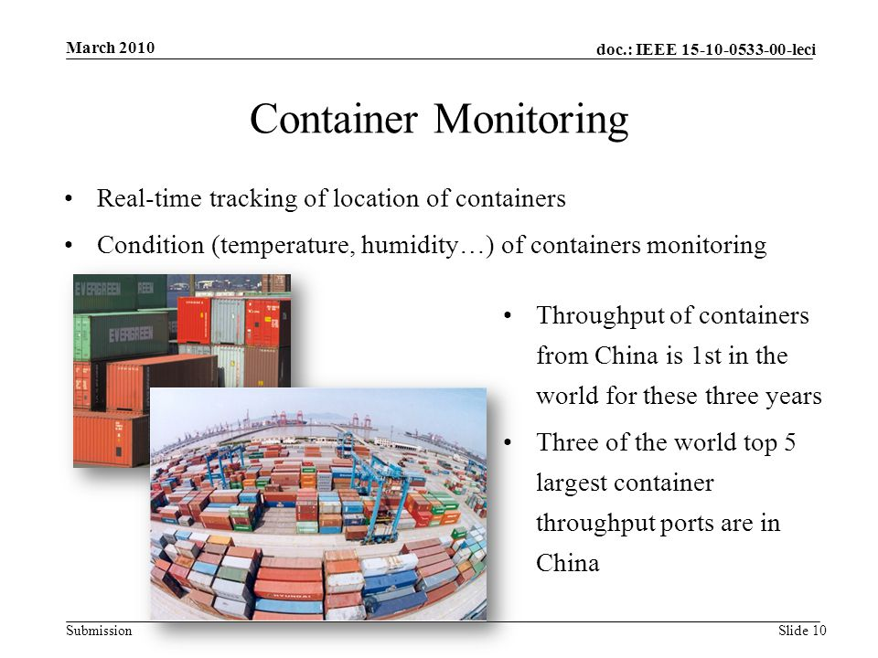 doc.: IEEE 15-10-0533-00-leci Submission Container Monitoring March 2010 Slide 10 Real-time tracking of location of containers Condition (temperature, humidity…) of containers monitoring Throughput of containers from China is 1st in the world for these three years Three of the world top 5 largest container throughput ports are in China