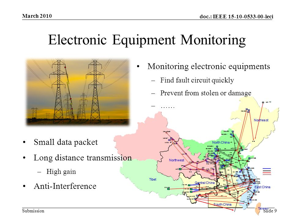 doc.: IEEE 15-10-0533-00-leci Submission Electronic Equipment Monitoring March 2010 Slide 9 Small data packet Long distance transmission –High gain Anti-Interference Monitoring electronic equipments –Find fault circuit quickly –Prevent from stolen or damage –……