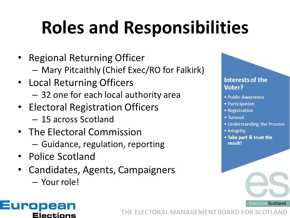 THE ELECTORAL MANAGEMENT BOARD FOR SCOTLAND Roles and Responsibilities Regional Returning Officer – Mary Pitcaithly (Chief Exec/RO for Falkirk) Local