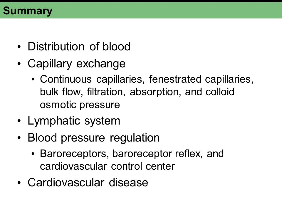Summary Distribution of blood Capillary exchange Continuous capillaries, fenestrated capillaries, bulk flow, filtration, absorption, and colloid osmotic pressure Lymphatic system Blood pressure regulation Baroreceptors, baroreceptor reflex, and cardiovascular control center Cardiovascular disease
