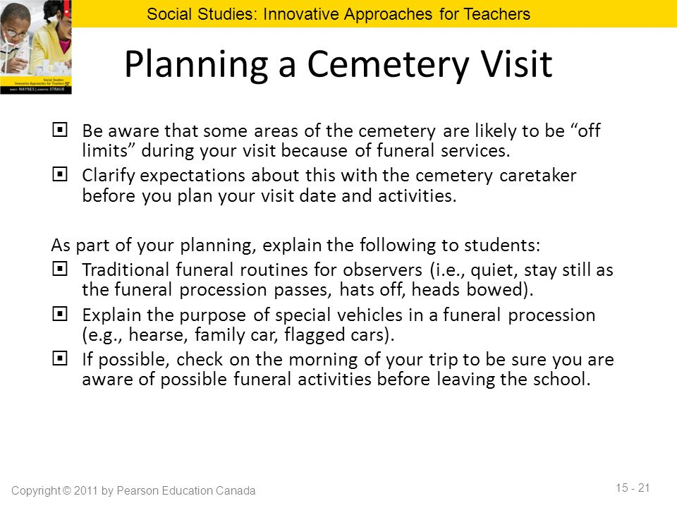 "Planning a Cemetery Visit  Be aware that some areas of the cemetery are likely to be ""off limits"" during your visit because of funeral services.  Cl"