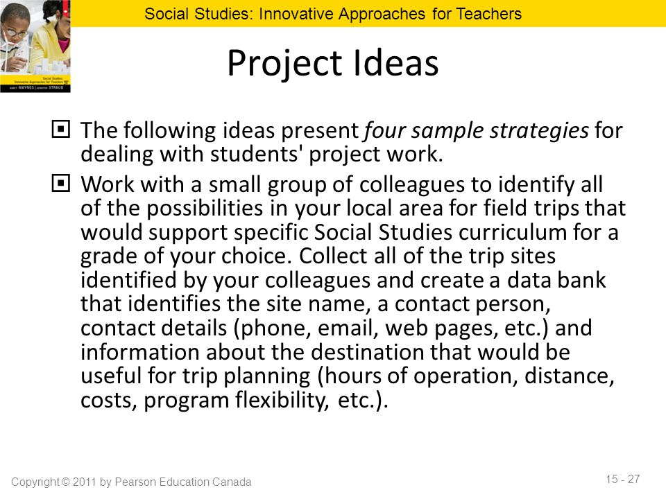 Project Ideas  The following ideas present four sample strategies for dealing with students' project work.  Work with a small group of colleagues to