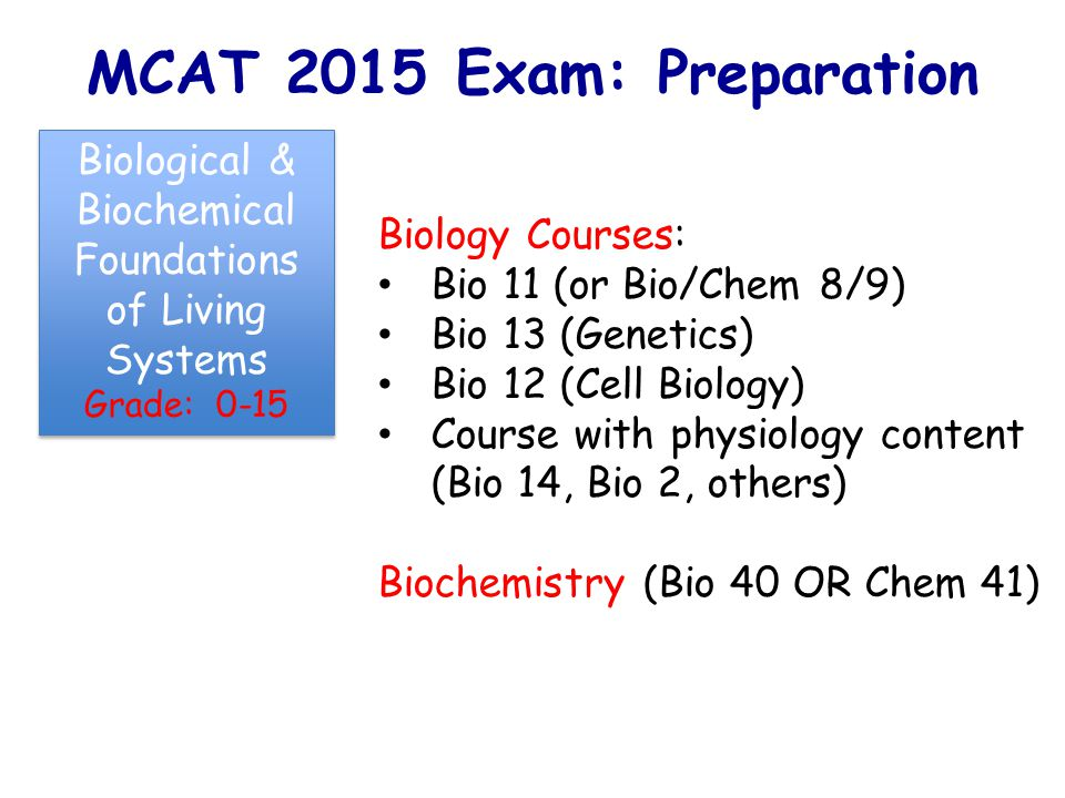 MCAT 2015 Exam: Preparation Biology Courses: Bio 11 (or Bio/Chem 8/9) Bio 13 (Genetics) Bio 12 (Cell Biology) Course with physiology content (Bio 14, Bio 2, others) Biochemistry (Bio 40 OR Chem 41) Biological & Biochemical Foundations of Living Systems Grade: 0-15 Biological & Biochemical Foundations of Living Systems Grade: 0-15