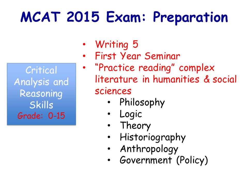MCAT 2015 Exam: Preparation Writing 5 First Year Seminar Practice reading complex literature in humanities & social sciences Philosophy Logic Theory Historiography Anthropology Government (Policy) Critical Analysis and Reasoning Skills Grade: 0-15 Critical Analysis and Reasoning Skills Grade: 0-15