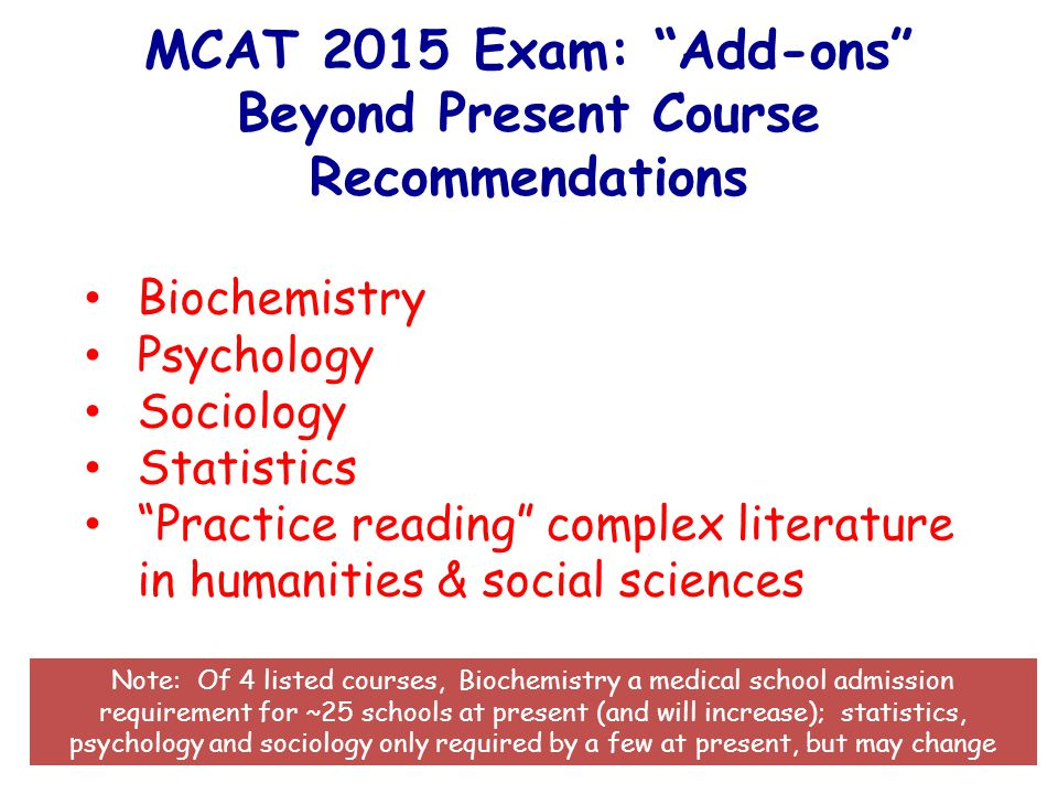 MCAT 2015 Exam: Add-ons Beyond Present Course Recommendations Biochemistry Psychology Sociology Statistics Practice reading complex literature in humanities & social sciences Note: Of 4 listed courses, Biochemistry a medical school admission requirement for ~25 schools at present (and will increase); statistics, psychology and sociology only required by a few at present, but may change
