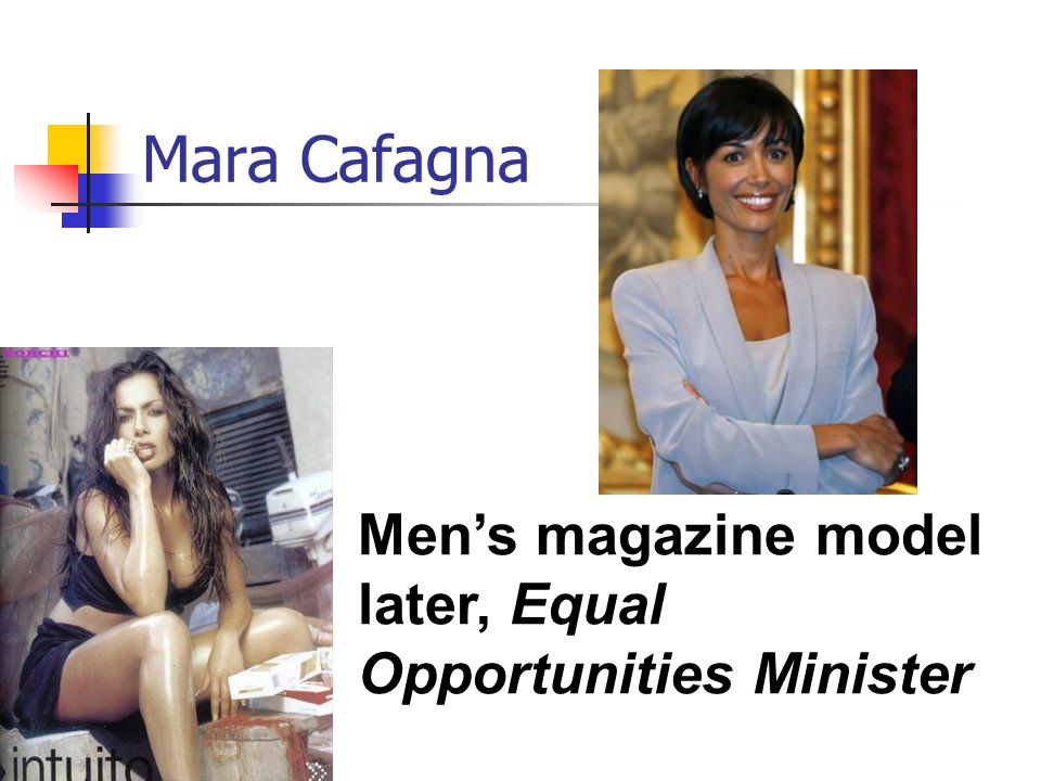 Mara Cafagna Men's magazine model later, Equal Opportunities Minister