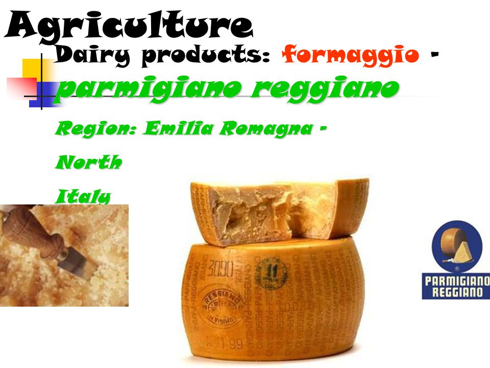 Agriculture parmigiano reggiano Dairy products: formaggio – parmigiano reggiano Region: Emilia Romagna – NorthItaly