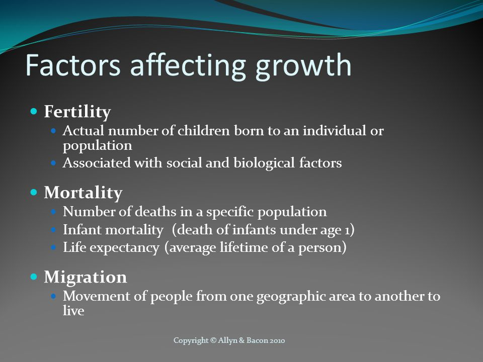 Copyright © Allyn & Bacon 2010 Impact of Population Growth Population growth affects the biological and social characteristics of a population Age, sex, race Marital status Education, occupation, income Size of household Example: In the U.S., age distribution of population affects the need for schools, employment opportunities, health care, and age-appropriate housing.