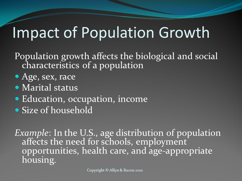 Copyright © Allyn & Bacon 2010 Perspectives on Growth Malthusian Perspective (1798) Global population will exceed the available food supply Population expands geometrically (1,2,4,8,16...) while food supply increases arithmetically (1,2,3,4,5...) Disaster can be averted by: Positive checks (e.g., famine, disease, war) Preventive checks (e.g, sexual abstinence, delayed marriage)