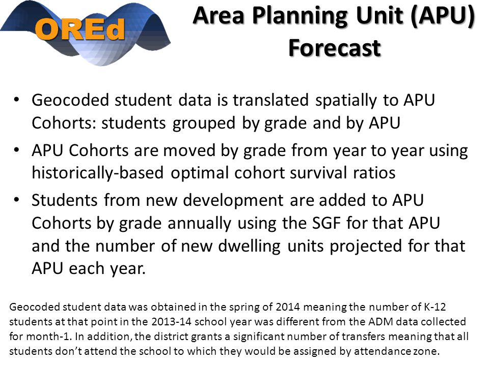 Area Planning Unit (APU) Forecast Geocoded student data is translated spatially to APU Cohorts: students grouped by grade and by APU APU Cohorts are moved by grade from year to year using historically-based optimal cohort survival ratios Students from new development are added to APU Cohorts by grade annually using the SGF for that APU and the number of new dwelling units projected for that APU each year.