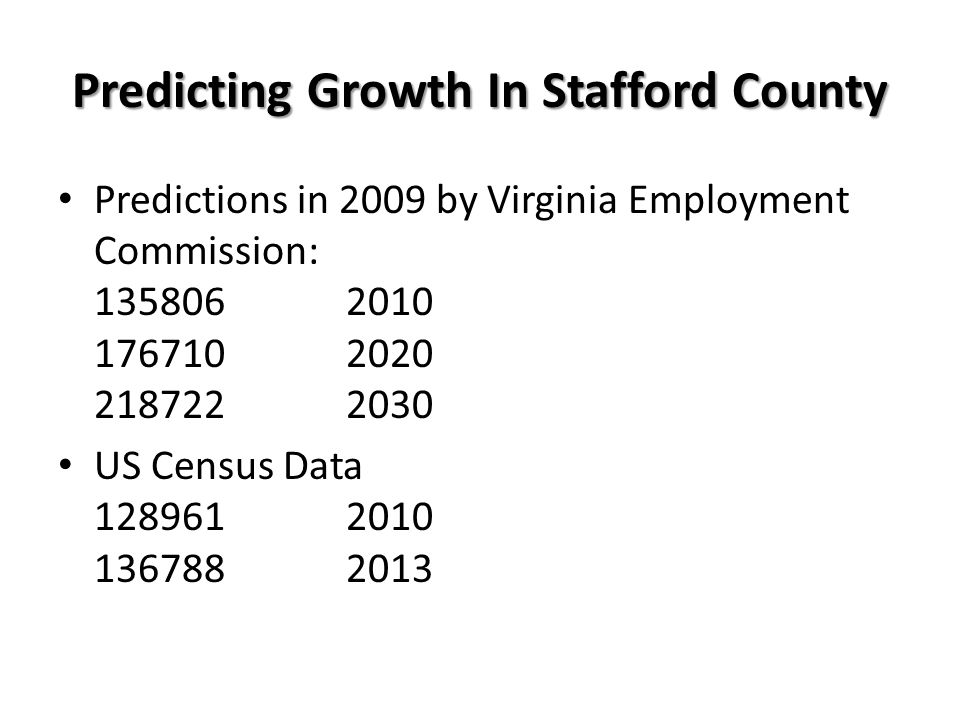 Predicting Growth In Stafford County Predictions in 2009 by Virginia Employment Commission: 1358062010 1767102020 2187222030 US Census Data 1289612010 1367882013