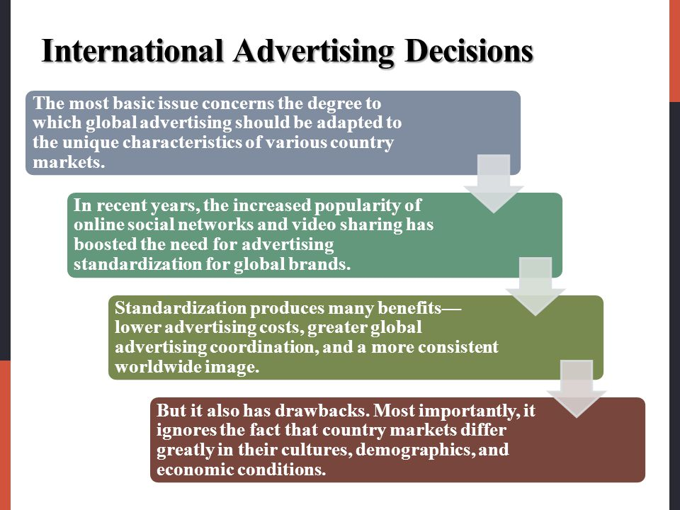 International Advertising Decisions The most basic issue concerns the degree to which global advertising should be adapted to the unique characteristi