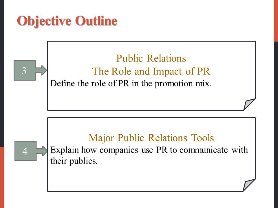 3 Public Relations The Role and Impact of PR Define the role of PR in the promotion mix. 4 Major Public Relations Tools Explain how companies use PR t