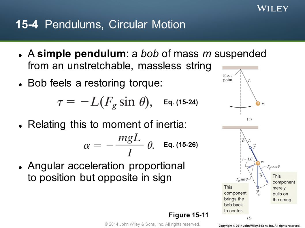 15-4 Pendulums, Circular Motion A simple pendulum: a bob of mass m suspended from an unstretchable, massless string Bob feels a restoring torque: Rela