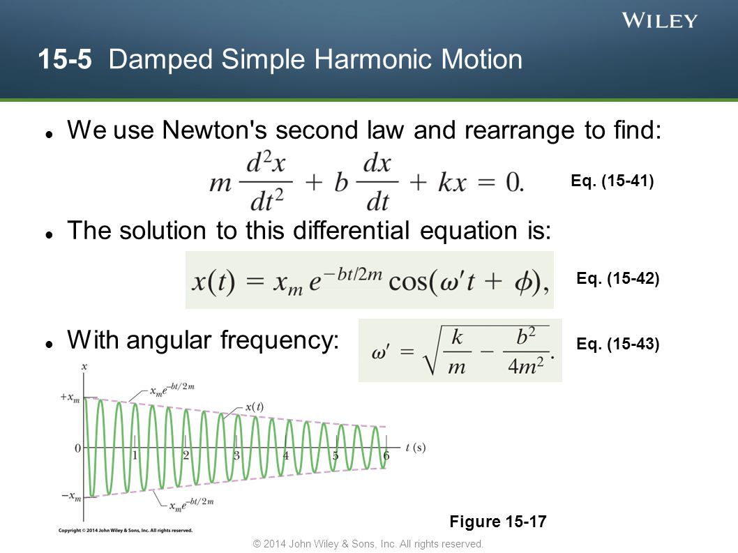 15-5 Damped Simple Harmonic Motion We use Newton's second law and rearrange to find: The solution to this differential equation is: With angular frequ