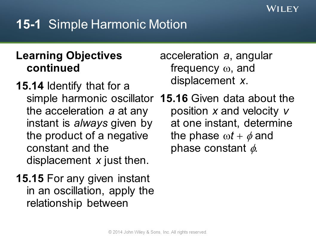 15-1 Simple Harmonic Motion Learning Objectives continued 15.14 Identify that for a simple harmonic oscillator the acceleration a at any instant is al