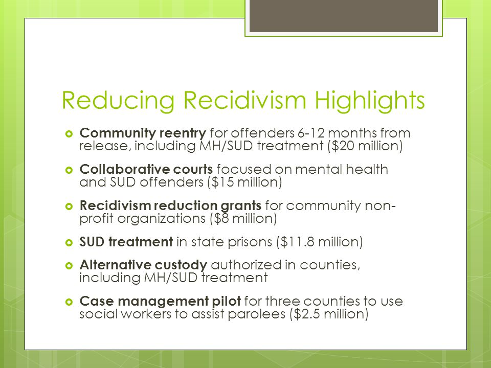 Reducing Recidivism Highlights  Community reentry for offenders 6-12 months from release, including MH/SUD treatment ($20 million)  Collaborative courts focused on mental health and SUD offenders ($15 million)  Recidivism reduction grants for community non- profit organizations ($8 million)  SUD treatment in state prisons ($11.8 million)  Alternative custody authorized in counties, including MH/SUD treatment  Case management pilot for three counties to use social workers to assist parolees ($2.5 million)