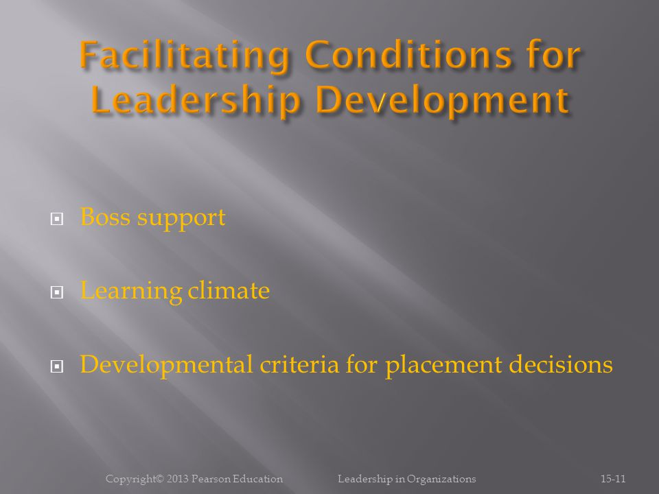  Boss support  Learning climate  Developmental criteria for placement decisions Copyright© 2013 Pearson Education Leadership in Organizations15-11