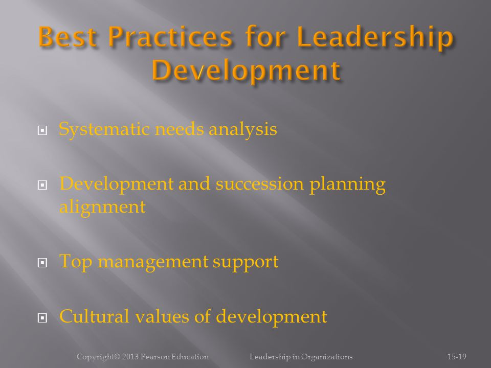  Systematic needs analysis  Development and succession planning alignment  Top management support  Cultural values of development Copyright© 2013 Pearson Education Leadership in Organizations15-19
