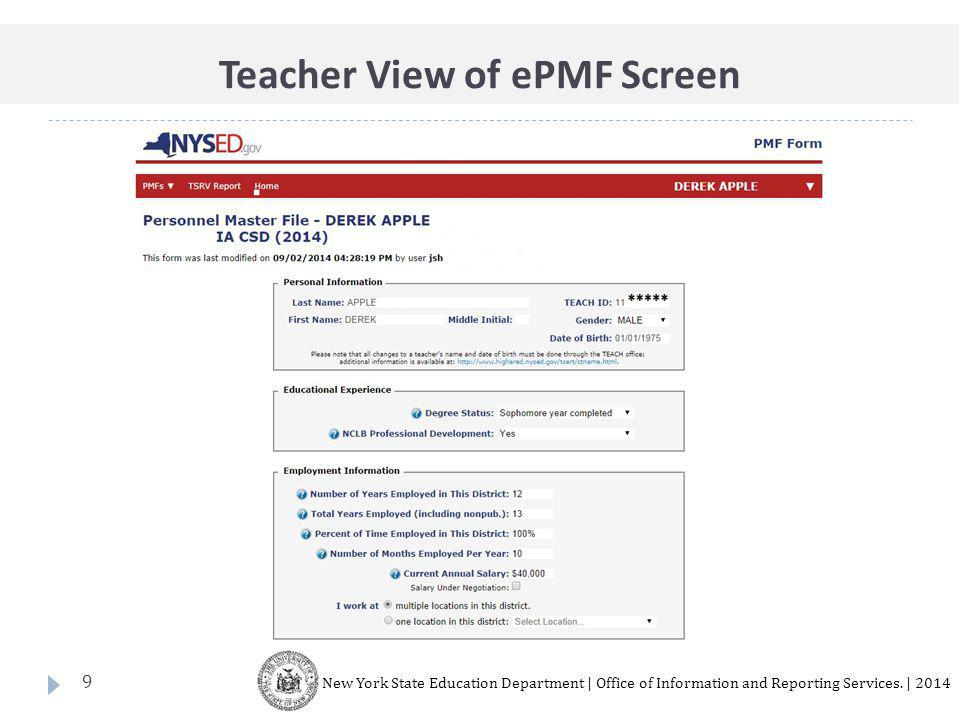 9 New York State Education Department | Office of Information and Reporting Services.