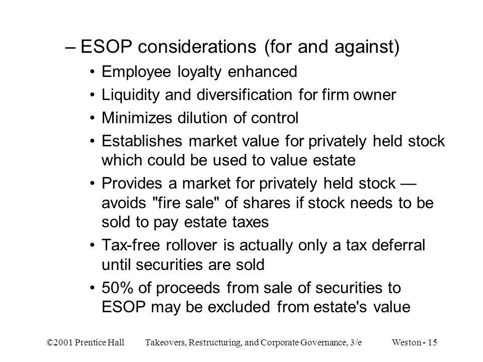 ©2001 Prentice Hall Takeovers, Restructuring, and Corporate Governance, 3/e Weston - 15 –ESOP considerations (for and against) Employee loyalty enhanc