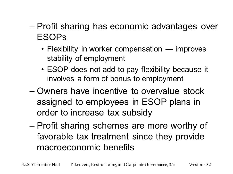 ©2001 Prentice Hall Takeovers, Restructuring, and Corporate Governance, 3/e Weston - 32 –Profit sharing has economic advantages over ESOPs Flexibility