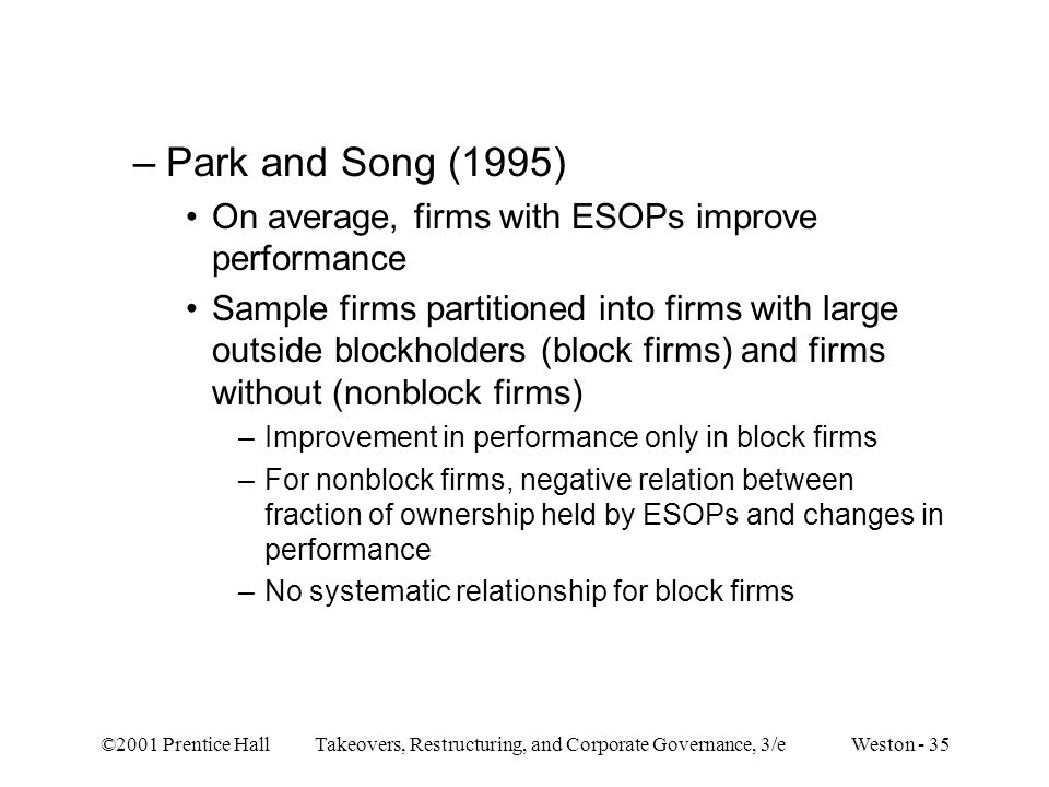 ©2001 Prentice Hall Takeovers, Restructuring, and Corporate Governance, 3/e Weston - 35 –Park and Song (1995) On average, firms with ESOPs improve per