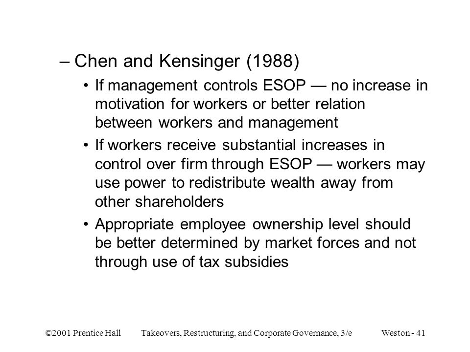 ©2001 Prentice Hall Takeovers, Restructuring, and Corporate Governance, 3/e Weston - 41 –Chen and Kensinger (1988) If management controls ESOP — no in