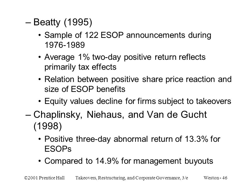 ©2001 Prentice Hall Takeovers, Restructuring, and Corporate Governance, 3/e Weston - 46 –Beatty (1995) Sample of 122 ESOP announcements during 1976-19