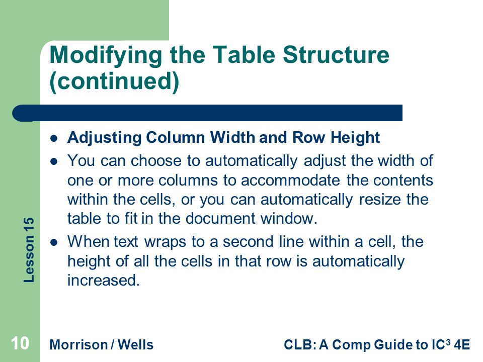 Lesson 15 Morrison / WellsCLB: A Comp Guide to IC 3 4E 10 Modifying the Table Structure (continued) Adjusting Column Width and Row Height You can choo
