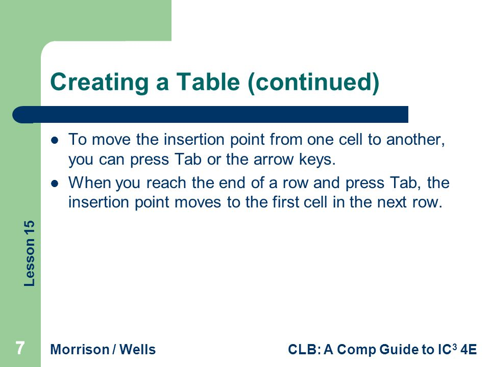 Lesson 15 Morrison / WellsCLB: A Comp Guide to IC 3 4E 888 Modifying the Table Structure Inserting Rows and Columns To insert a new row at the end of the table, you can position the insertion point in the last table cell and press Tab.