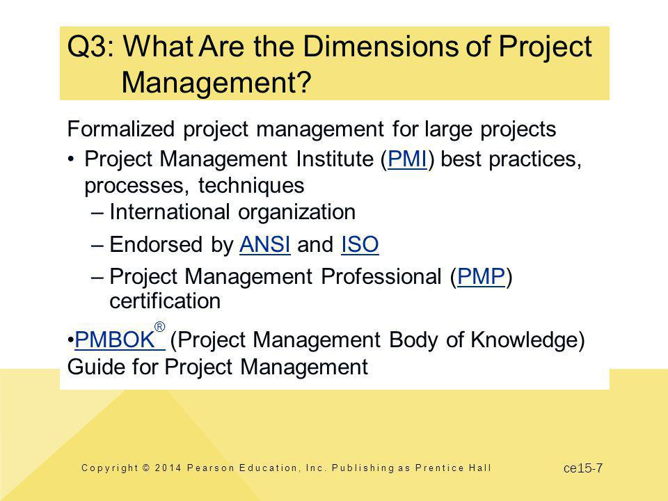 ce15-8 Dimensions of Project Management Copyright © 2014 Pearson Education, Inc.