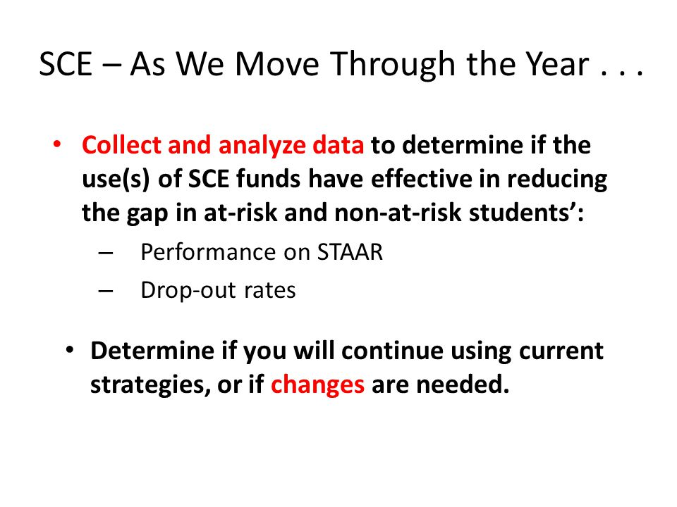 SCE – As We Move Through the Year...