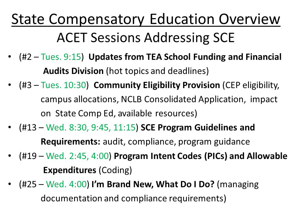 SCE - Documentation To determine if our SCE services are effective, we must track (document & analyze): – Which students are being served – How are they served – How often they are served – Have their scores improved, did they pass the state assessment