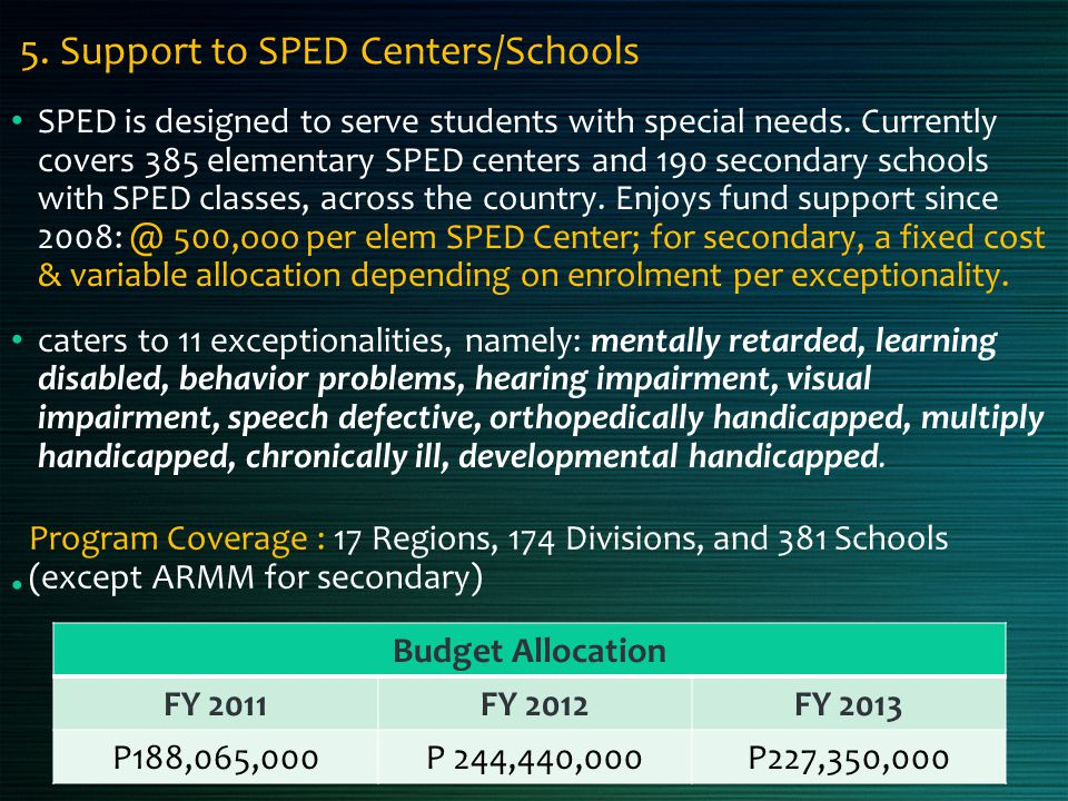 5. Support to SPED Centers/Schools SPED is designed to serve students with special needs. Currently covers 385 elementary SPED centers and 190 seconda