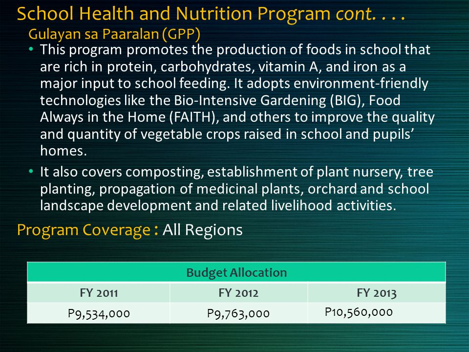 School Health and Nutrition Program cont.... Gulayan sa Paaralan (GPP) This program promotes the production of foods in school that are rich in protei
