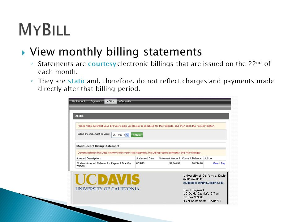  View monthly billing statements ◦ Statements are courtesy electronic billings that are issued on the 22 nd of each month.
