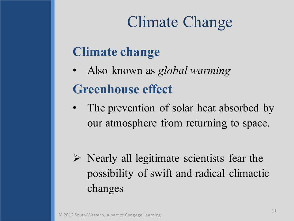 Climate Change Climate change Also known as global warming Greenhouse effect The prevention of solar heat absorbed by our atmosphere from returning to space.