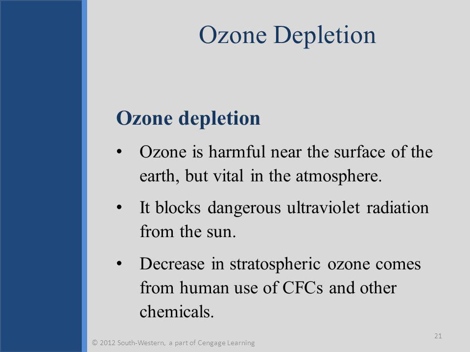 Ozone Depletion Ozone depletion Ozone is harmful near the surface of the earth, but vital in the atmosphere.