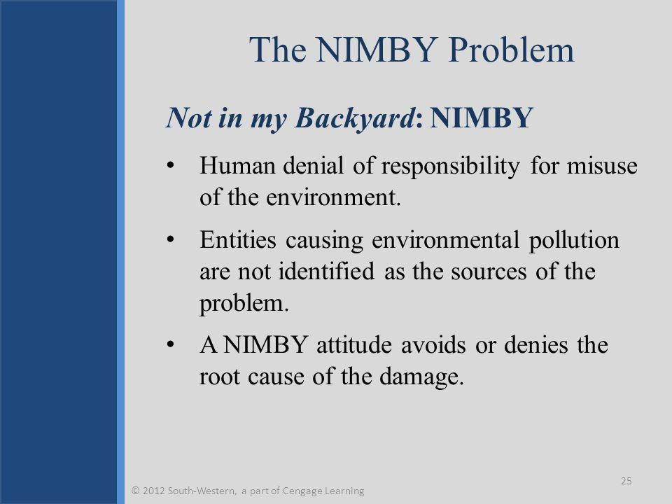 The NIMBY Problem Not in my Backyard: NIMBY Human denial of responsibility for misuse of the environment.