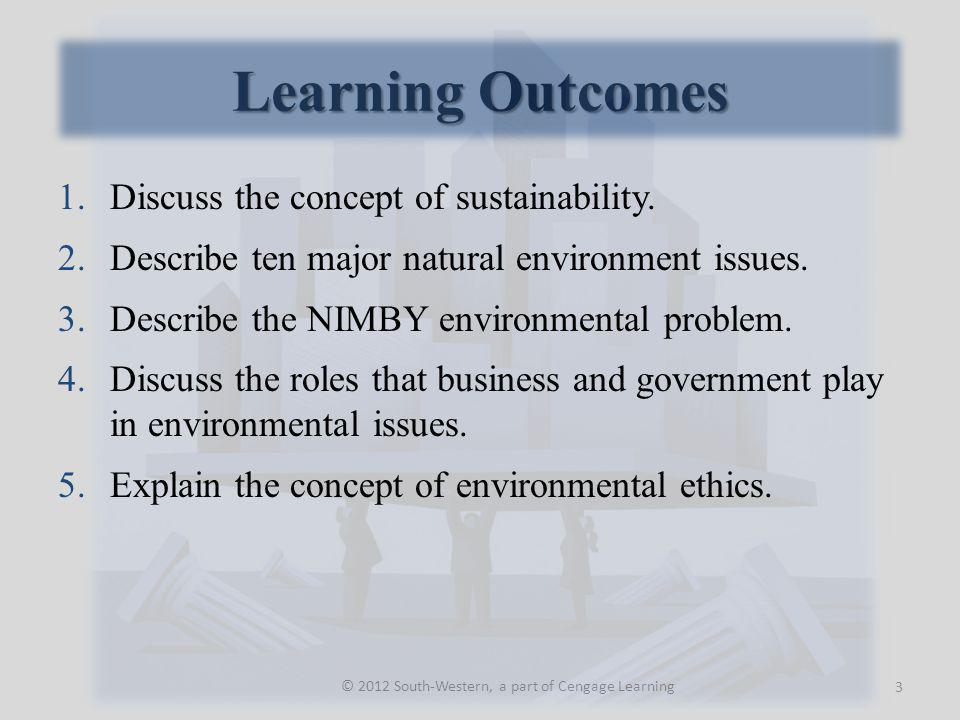 Learning Outcomes © 2012 South-Western, a part of Cengage Learning 1.Discuss the concept of sustainability.