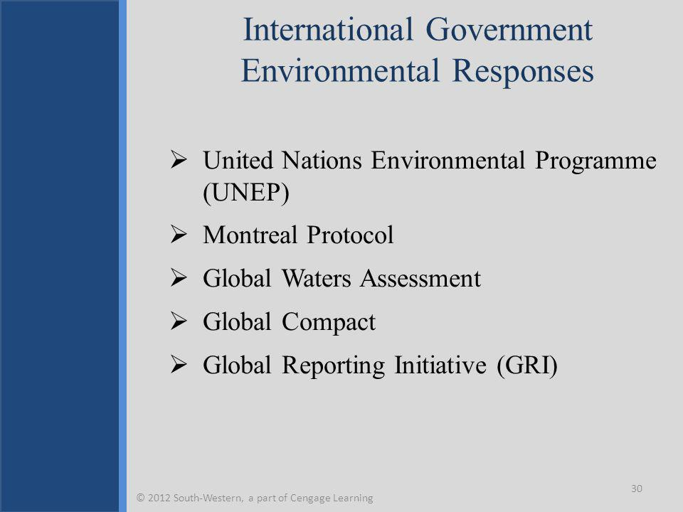 International Government Environmental Responses  United Nations Environmental Programme (UNEP)  Montreal Protocol  Global Waters Assessment  Global Compact  Global Reporting Initiative (GRI) 30 © 2012 South-Western, a part of Cengage Learning